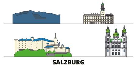 Autriche, Salzbourg télévision landmarks vector illustration. Autriche, Salzbourg line city avec de célèbres sites de voyage, design d'horizon. Vecteurs