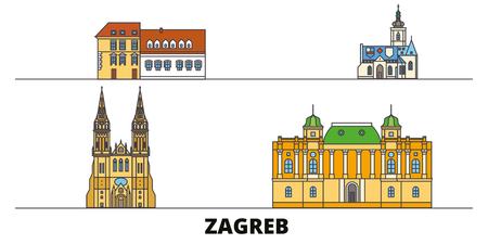 Kroatien, Zagreb flache Wahrzeichen Vector Illustration. Kroatien, Zagreb-Linie Stadt mit berühmten Reisesehenswürdigkeiten, Design-Skyline. Vektorgrafik