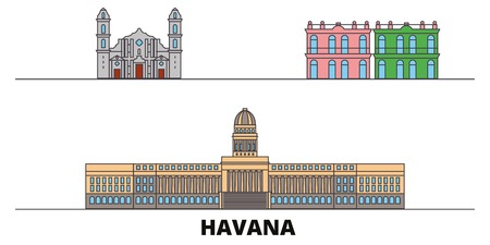 Cuba, Havana City flat landmarks vector illustration. Cuba, Havana City line city with famous travel sights, design skyline.