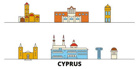 Cyprus flat landmarks vector illustration. Cyprus line city with famous travel sights, design skyline. Illustration