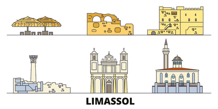 Cyprus, Limassol flat landmarks vector illustration. Cyprus, Limassol line city with famous travel sights, design skyline. Ilustrace