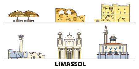 Cyprus, Limassol flat landmarks vector illustration. Cyprus, Limassol line city with famous travel sights, design skyline. Illustration