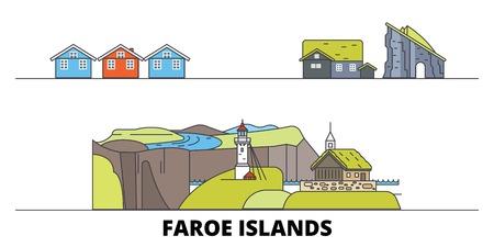 Denmark, Faroe Islands flat landmarks vector illustration. Denmark, Faroe Islands line city with famous travel sights, design skyline. 스톡 콘텐츠 - 119387007