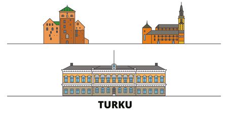 Finland, Turku flat landmarks vector illustration. Finland, Turku line city with famous travel sights, design skyline.