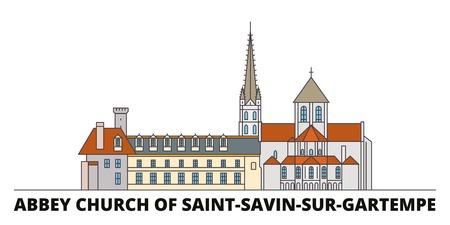 France, Abbey Church Of Saint Savin Sur Gartempe Landmark flat landmarks vector illustration. France, Abbey Church Of Saint Savin Sur Gartempe Landmark line city with famous travel sights, design skyline.