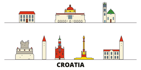 Croatia flat landmarks vector illustration. Croatia line city with famous travel sights, design skyline.