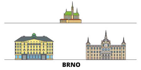 Czech Republic, Brno flat landmarks vector illustration. Czech Republic, Brno line city with famous travel sights, design skyline.