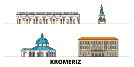 Czech Republic, Kromeriz flat landmarks vector illustration. Czech Republic, Kromeriz line city with famous travel sights, design skyline.