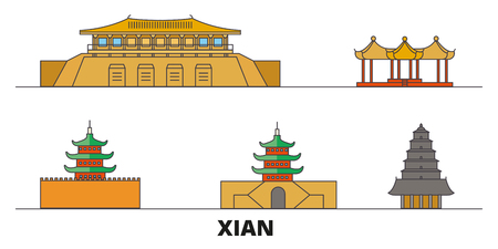 China, Xian  flat landmarks vector illustration. China, Xian  line city with famous travel sights, design skyline.