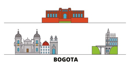 Colombia, Bogota flat landmarks vector illustration. Colombia, Bogota line city with famous travel sights, design skyline.