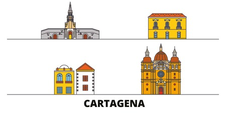 Colombia, Cartagena flat landmarks vector illustration. Colombia, Cartagena line city with famous travel sights, design skyline.