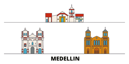 Colombia, Medellin flat landmarks vector illustration. Colombia, Medellin line city with famous travel sights, design skyline.