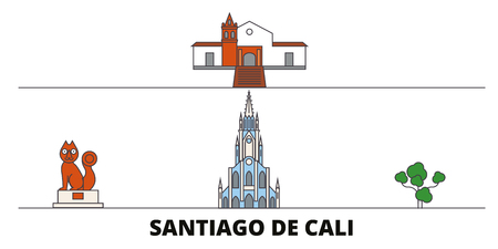 Colombia, Santiago De Cali flat landmarks vector illustration. Colombia, Santiago De Cali line city with famous travel sights, design skyline. Çizim