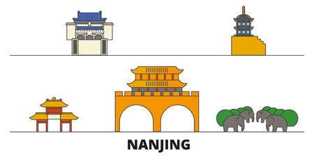 China, Nanjing flat landmarks vector illustration. China, Nanjing line city with famous travel sights, design skyline.