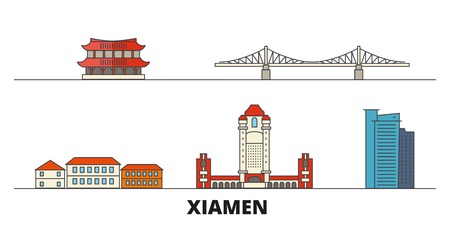 China, Xiamen flat landmarks vector illustration. China, Xiamen line city with famous travel sights, design skyline.