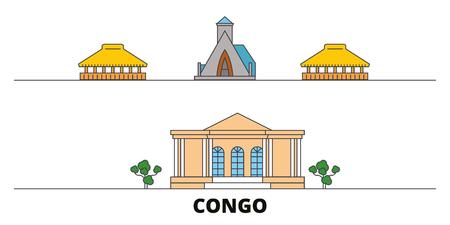 Congo flat landmarks vector illustration. Congo line city with famous travel sights, design skyline. Standard-Bild - 119912656