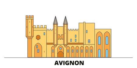 France, Avignon Landmark flat landmarks vector illustration. France, Avignon Landmark line city with famous travel sights, design skyline.