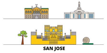 Costa Rica, San Jose flat landmarks vector illustration. Costa Rica, San Jose line city with famous travel sights, design skyline.  イラスト・ベクター素材