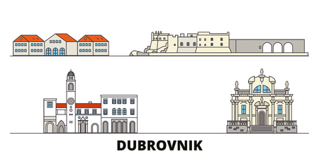 Croatia, Dubrovnik flat landmarks vector illustration. Croatia, Dubrovnik line city with famous travel sights, design skyline. Ilustração