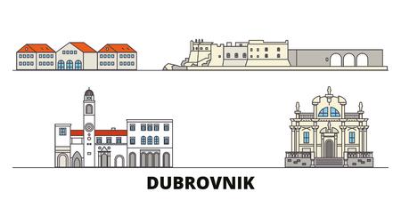 Croatia, Dubrovnik flat landmarks vector illustration. Croatia, Dubrovnik line city with famous travel sights, design skyline. Illustration