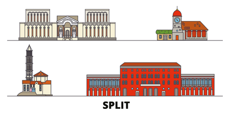Kroatien, Split flache Wahrzeichen Vektor-Illustration. Kroatien, Split-Line-Stadt mit berühmten Reisesehenswürdigkeiten, Design-Skyline.
