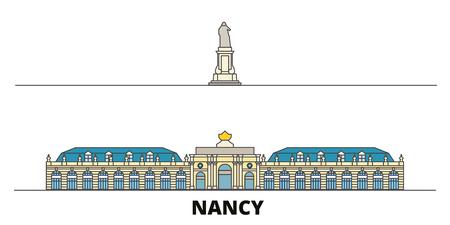 France, Nancy Landmark flat landmarks vector illustration. France, Nancy Landmark line city with famous travel sights, design skyline. Illustration