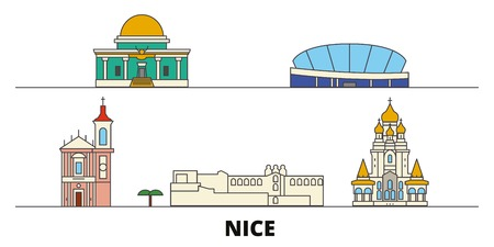 France, Nice flat landmarks vector illustration. France, Nice line city with famous travel sights, design skyline.  イラスト・ベクター素材
