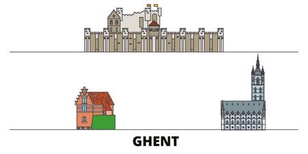 Belgium, Ghent flat landmarks vector illustration. Belgium, Ghent line city with famous travel sights, design skyline. Banque d'images - 119912738