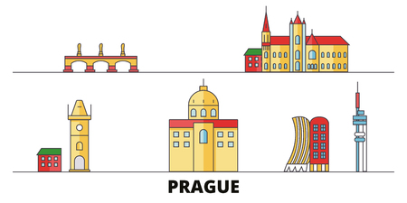 Czech Republic, Prague flat landmarks vector illustration. Czech Republic, Prague line city with famous travel sights, design skyline.