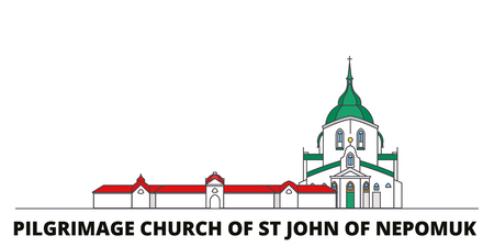 Czech Republic, Pilgrimage Church Of St John Of Nepomuk flat landmarks vector illustration. Czech Republic, Pilgrimage Church Of St John Of Nepomuk line city with famous travel sights, design skyline. Иллюстрация