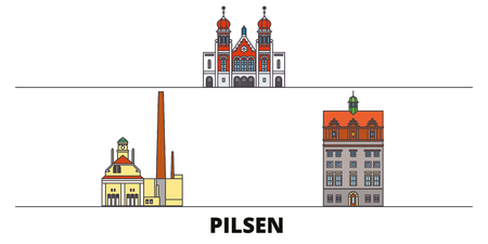 Czech Republic, Pilsen flat landmarks vector illustration. Czech Republic, Pilsen line city with famous travel sights, design skyline.