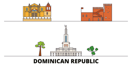 Dominican Republic flat landmarks vector illustration. Dominican Republic line city with famous travel sights, design skyline.