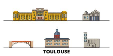 France, Toulouse flat landmarks vector illustration. France, Toulouse line city with famous travel sights, design skyline. Ilustração