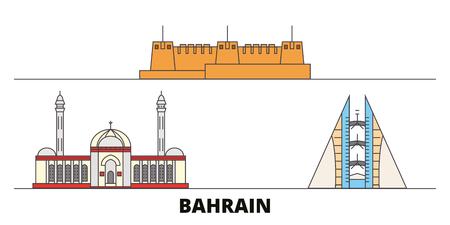 Illustration vectorielle de Bahreïn repères plats. Ville de ligne de Bahreïn avec de célèbres sites de voyage, horizon design.