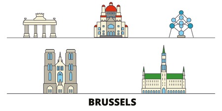 Belgium, Brussels flat landmarks vector illustration. Belgium, Brussels line city with famous travel sights, design skyline.