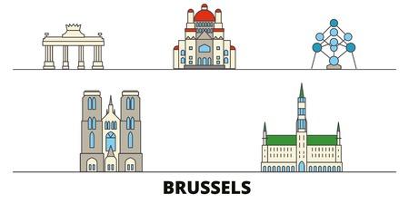 Belgium, Brussels flat landmarks vector illustration. Belgium, Brussels line city with famous travel sights, design skyline.