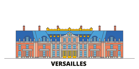 France, Versailles  flat landmarks vector illustration. France, Versailles  line city with famous travel sights, design skyline. Vectores