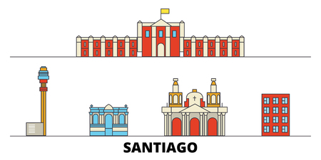 Chile, Santiago flat landmarks vector illustration. Chile, Santiago line city with famous travel sights, design skyline. Illustration