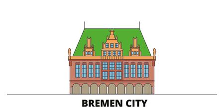 Germany, Bremen City flat landmarks vector illustration. Germany, Bremen City line city with famous travel sights, design skyline. Archivio Fotografico - 119913002