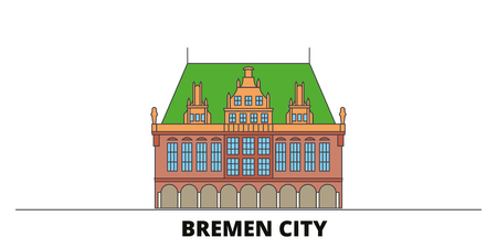 Germany, Bremen City flat landmarks vector illustration. Germany, Bremen City line city with famous travel sights, design skyline. Illustration