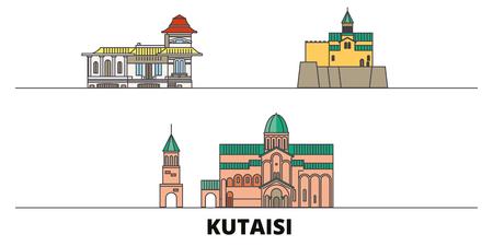 Georgia, Kutaisi flat landmarks vector illustration. Georgia, Kutaisi line city with famous travel sights, design skyline.