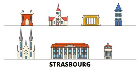 France, Strasbourg flat landmarks vector illustration. France, Strasbourg line city with famous travel sights, design skyline.