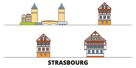France, Strasbourg City flat landmarks vector illustration. France, Strasbourg City line city with famous travel sights, design skyline.