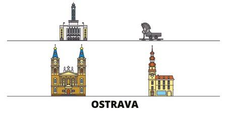 Czech Republic, Ostrava flat landmarks vector illustration. Czech Republic, Ostrava line city with famous travel sights, design skyline.