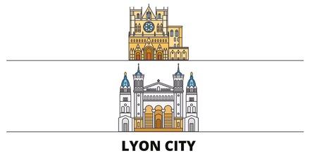 France, Lyon City flat landmarks vector illustration. France, Lyon City line city with famous travel sights, design skyline.