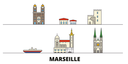 France, Marseille flat landmarks vector illustration. France, Marseille line city with famous travel sights, design skyline.