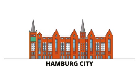 Germany, Hamburg City flat landmarks vector illustration. Germany, Hamburg City line city with famous travel sights, design skyline.