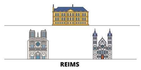 France, Reims flat landmarks vector illustration. France, Reims line city with famous travel sights, design skyline.  イラスト・ベクター素材