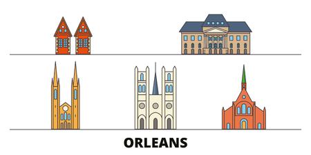 France, Orleans flat landmarks vector illustration. France, Orleans line city with famous travel sights, design skyline. Ilustrace