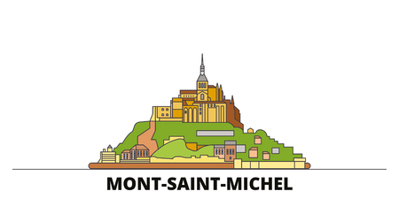 France, Mont Saint Michel And Its Bay flat landmarks vector illustration. France, Mont Saint Michel And Its Bay line city with famous travel sights, design skyline.